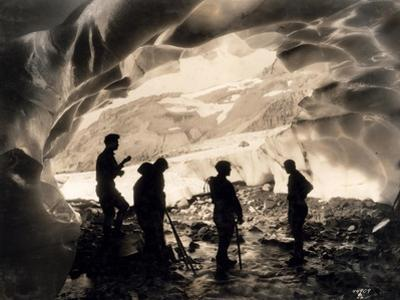 Ice Cave with Party, Mount Rainier, Undated