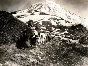 Mount Rainier, Two Women and a Man on Horse Trail, 1914 by Asahel Curtis