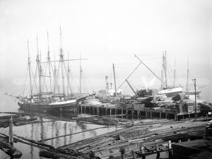 Ships Loading Timber at Docks, Seattle, 1916 by Asahel Curtis