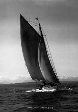 Sloop Sailboat Underway, Circa 1909