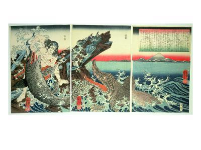 Asahina Saburo and the Crocodiles, Pub. 1849 (Colour Woodblock Print)-Kuniyoshi Utagawa-Giclee Print