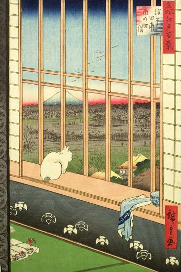 Asakusa Rice Fields During the Festival of the Cock from the Series '100 Views of Edo', Pub. 1857-Ando Hiroshige-Giclee Print