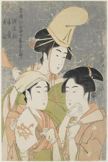 Asazuma-Bune, Fan-Seller, and Poetic Epithets, 1793-Kitagawa Utamaro-Giclee Print