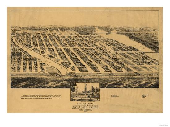 Asbury Park, New Jersey - Panoramic Map-Lantern Press-Art Print