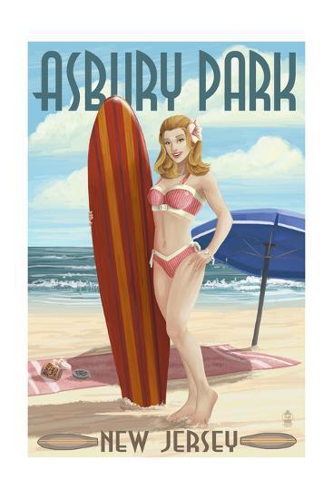 Asbury Park, New Jersey - Surfer Pinup Girl-Lantern Press-Art Print