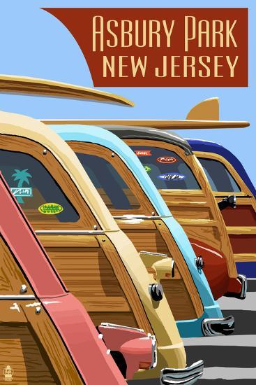 Asbury Park, New Jersey - Woodies Lined Up-Lantern Press-Art Print