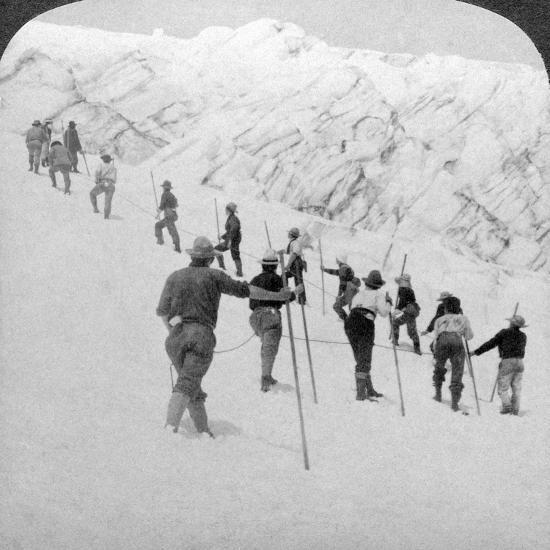 Ascending a Steep Snowfield, Stevens Glacier, Mount Rainier, Washington, USA-Underwood & Underwood-Photographic Print