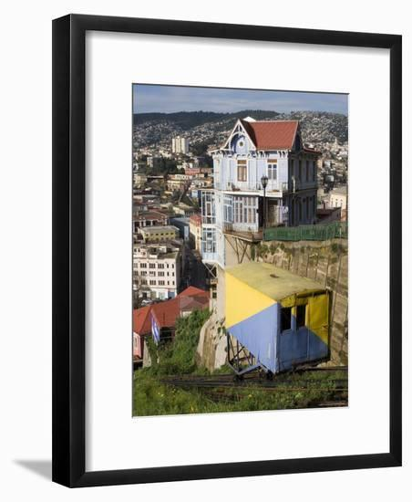 Ascensor Artilleria with City Buildings Beyond, Valparaiso, Valparaiso, Chile-Brent Winebrenner-Framed Photographic Print