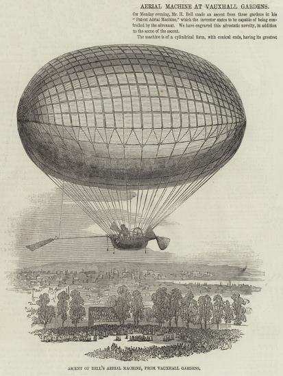 Ascent of Bell's Aerial Machine, from Vauxhall Gardens--Giclee Print