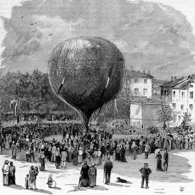 Ascent of Leon Montgolfier in Hot Air Balloon--Photographic Print