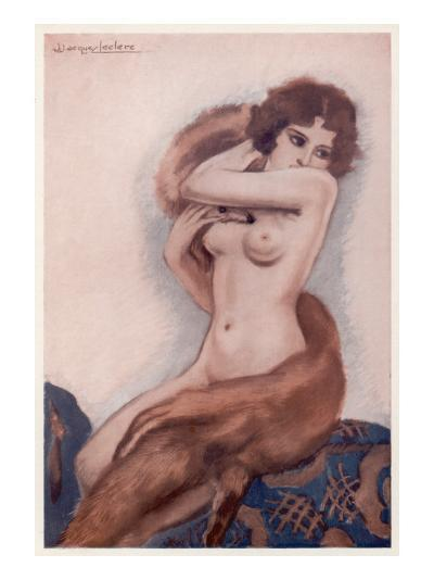 Aseated Naked Woman Wraps a Fox Fur around Her Body--Giclee Print