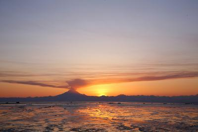 Ash Cloud Rises from From Mt. Redoubt at Sunset During Low Tide Near Ninilchik, Alaska-Design Pics Inc-Photographic Print