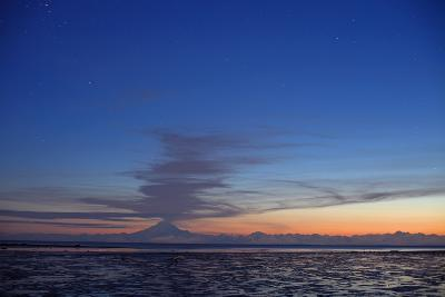 Ash Cloud Rises from Mt. Redoubt at Sunset During Low Tide Near Ninilchik, Alaska-Design Pics Inc-Photographic Print