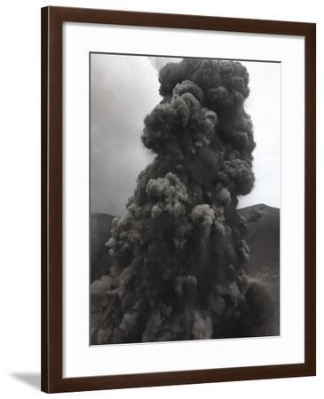 Ash Cloud Rising from Summit Craters, Yasur Volcano, Tanna Island, Vanuatu-Stocktrek Images-Framed Photographic Print