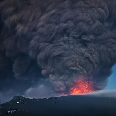 Ash plume from the Eyjafjallajokull eruption--Photographic Print