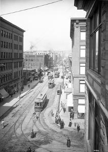 Pike Street from Second Avenue, Seattle, 1908 by Ashael Curtis