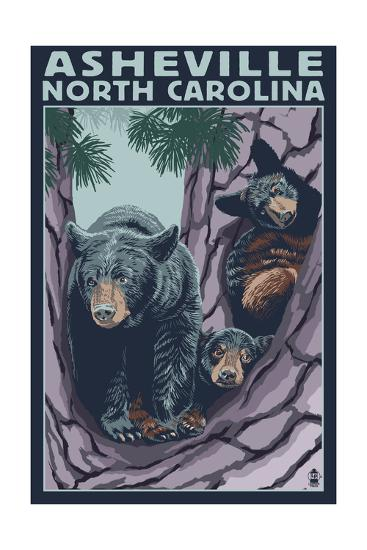 Asheville, North Carolina - Bear Family in Tree-Lantern Press-Art Print