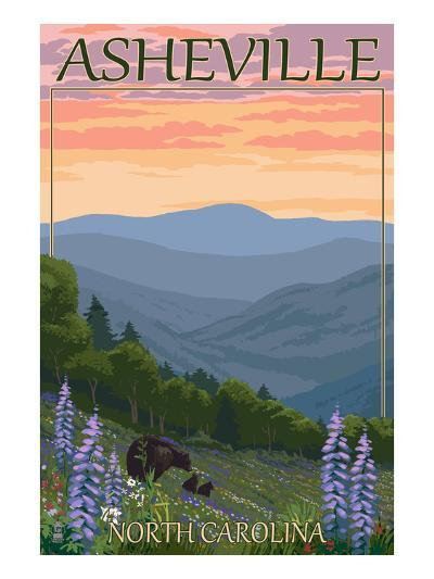 Asheville, North Carolina - Spring Flowers and Bear Family-Lantern Press-Art Print