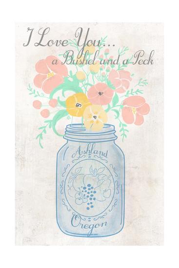 Ashland, Oregon - I Love You a Bushel-Lantern Press-Art Print
