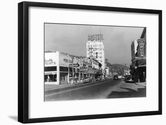 Ashland, Oregon Main Street View Photograph-Lantern Press-Framed Art Print