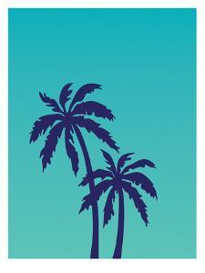 Palm Tree on Teal by Ashlee Rae
