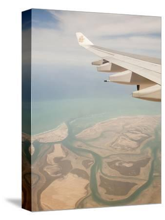 Flying over the Coastline and Estuary of Dubai in the Uae