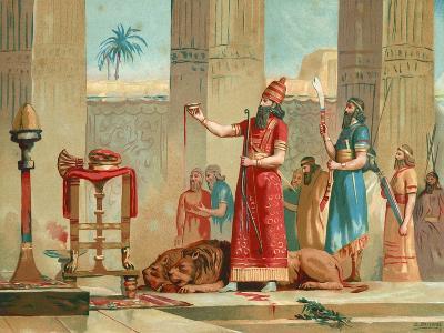 Ashurbanipal Offering Lions in Sacrifice-Dionisio Baixeras-Verdaguer-Giclee Print