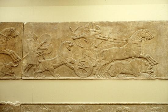 Ashurnasirpal II killing lions, c645 BC-635 BC-Unknown-Giclee Print