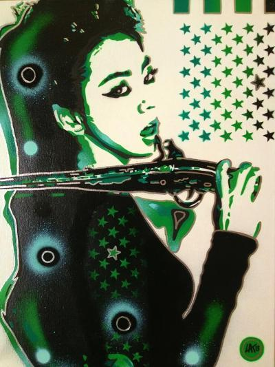 Asia Green-Abstract Graffiti-Giclee Print
