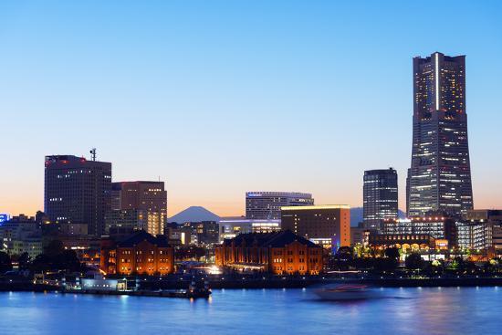 Asia, Japan, Honshu, Yokohama Bay, City Skyline and Mt Fuji, Landmark Tower-Christian Kober-Photographic Print