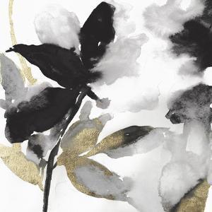 Black Petals Gold Leaves I by Asia Jensen