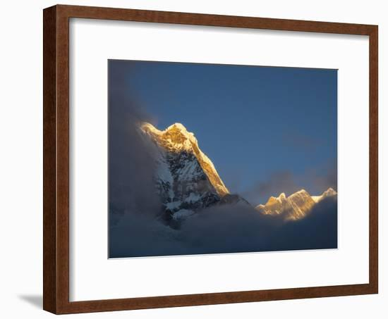Asia, Nepal, Annapurna Base Camp. Annapurna South peak at sunrise with clouds below.-Merrill Images-Framed Photographic Print