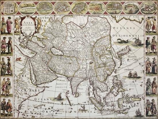 Asia Old Map Created By Willem Bleau Published In Amsterdam Ca - Amsterdam old map