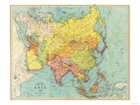 Asia - Panoramic Map-Lantern Press-Art Print