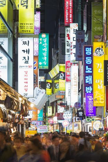 Asia, Republic of Korea, South Korea, Seoul, Neon Lit Streets of Myeong-Dong-Christian Kober-Photographic Print