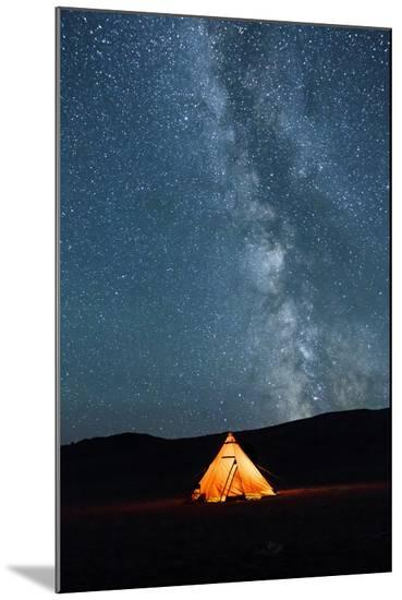 Asia, Western Mongolia, Khovd Province, Gashuun Suhayt. River Valley. Tent with Stars and Milky Way-Emily Wilson-Mounted Photo