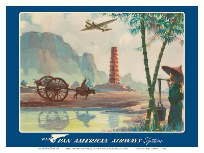 Asia - Wings Over the World - Pan American Airways System - Chinese Pagoda-Paul George Lawler-Art Print
