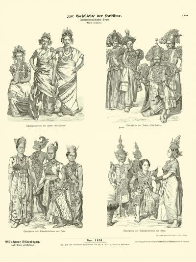 Asian Actors' Costumes, Late 19th Century--Giclee Print
