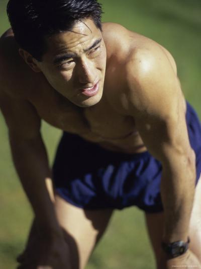Asian Man Pausing During Workout--Photographic Print