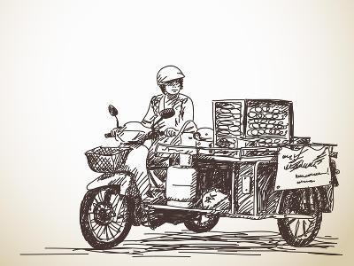 Asian Street Food on Motorbike, Hand Drawn Vector Sketch-Olga Tropinina-Art Print