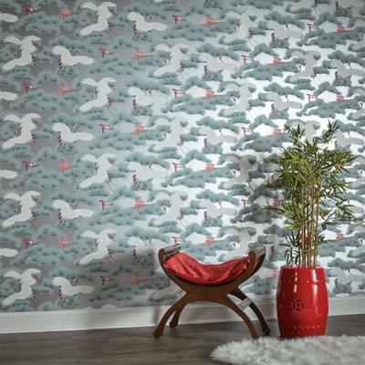 Asian Toile Sterling & Cherry Blossom Red Self-Adhesive Wallpaper
