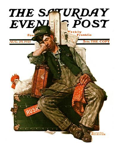 """Asleep on the Job"" Saturday Evening Post Cover, August 29,1925-Norman Rockwell-Giclee Print"