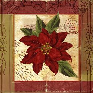 Christmas Poinsettia Vintage 1 by Asmaa' Murad