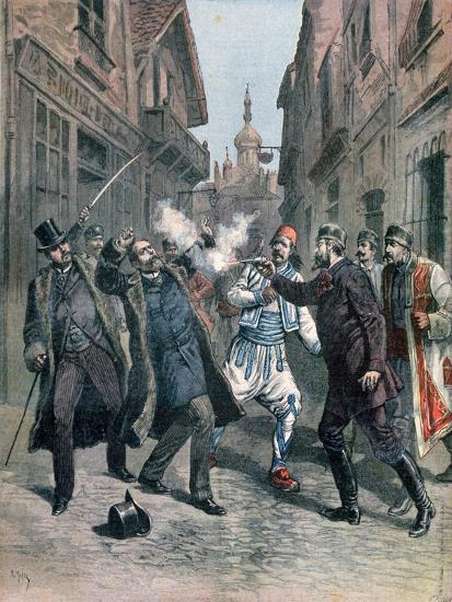 Assasination of M Beltchef in the Presence of Mr Stambouloff, Bulgaria, 1891-Henri Meyer-Giclee Print