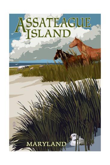Assateague Island, Maryland - Horses and Dunes-Lantern Press-Art Print