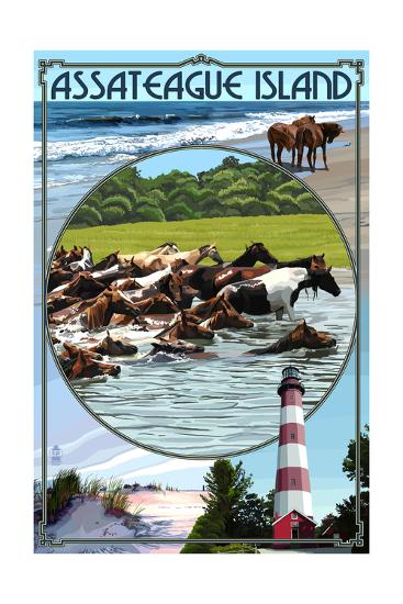 Assateague Island - Montage-Lantern Press-Art Print