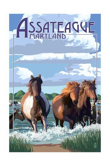 Assateague, Maryland - Pony Swim-Lantern Press-Art Print