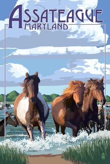 Assateague, Maryland - Pony Swim-Lantern Press-Wall Mural