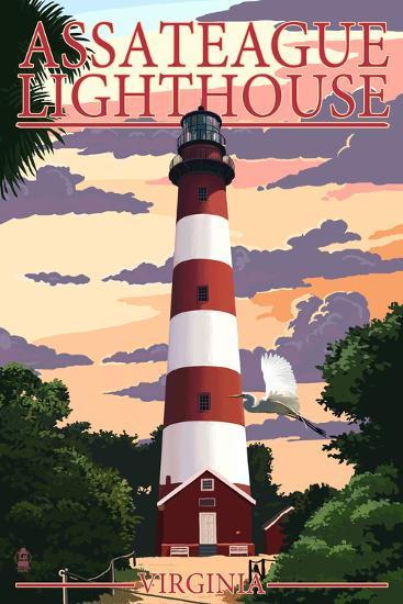 Assateague, Virginia - Lighthouse-Lantern Press-Art Print