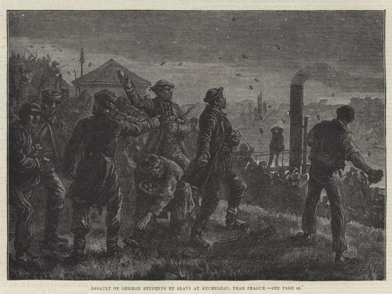 Assault on German Students by Slavs at Kuchelbad, Near Prague-Johann Nepomuk Schonberg-Giclee Print